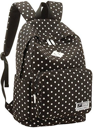 BagEStar Lightweight Casual Daypack Backpack for College Bookbag for Women Girls School Bags Female College Students Storm Dot Schoolbag Black  - Click image twice for more info - See a larger selection of casual backpacks at http://kidsbackpackstore.com/product-category/kids-casual-backpacks/ - kids, kids backpack, school backpack, everyday backpack, school bag, gift ideas, teens backpacks.