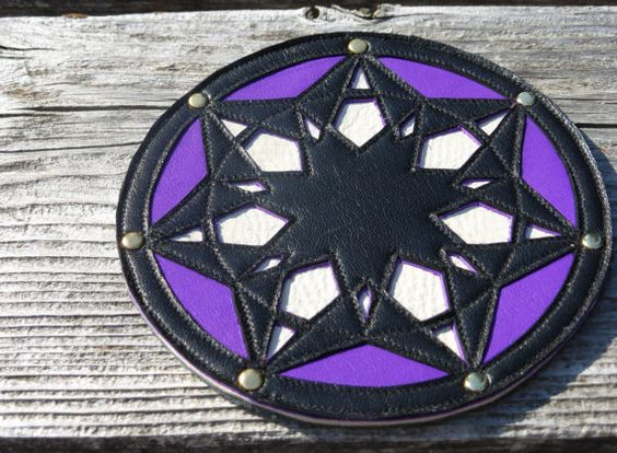 Sacred Geometry Leather Patch  Elven Star  7 by luminaradesigns, $40.00
