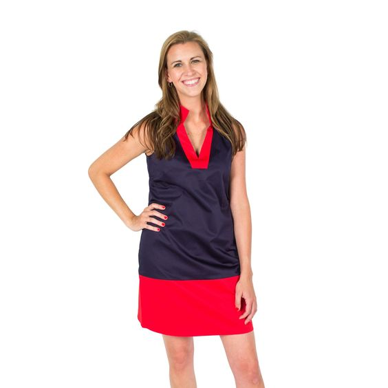 Color Block Shift Dress in Peacoat Navy and High Risk Red by Sail to Sable
