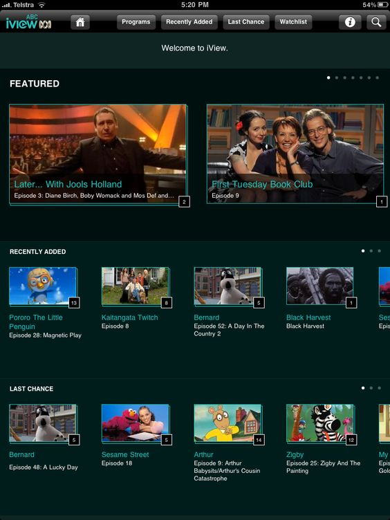 ABC iview app for iPad - Mobile Awards - Mobies
