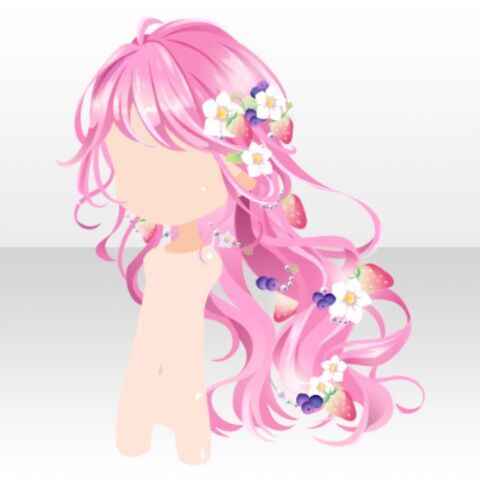 Hairstyle Berries On Fluffy Long Hair Ver A Pink Chibi Hair Anime Hair How To Draw Hair