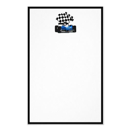 SOLD ! Blue Race Car with Checkered Flag Custom Stationery  SHIPPING TO Stamford, CT