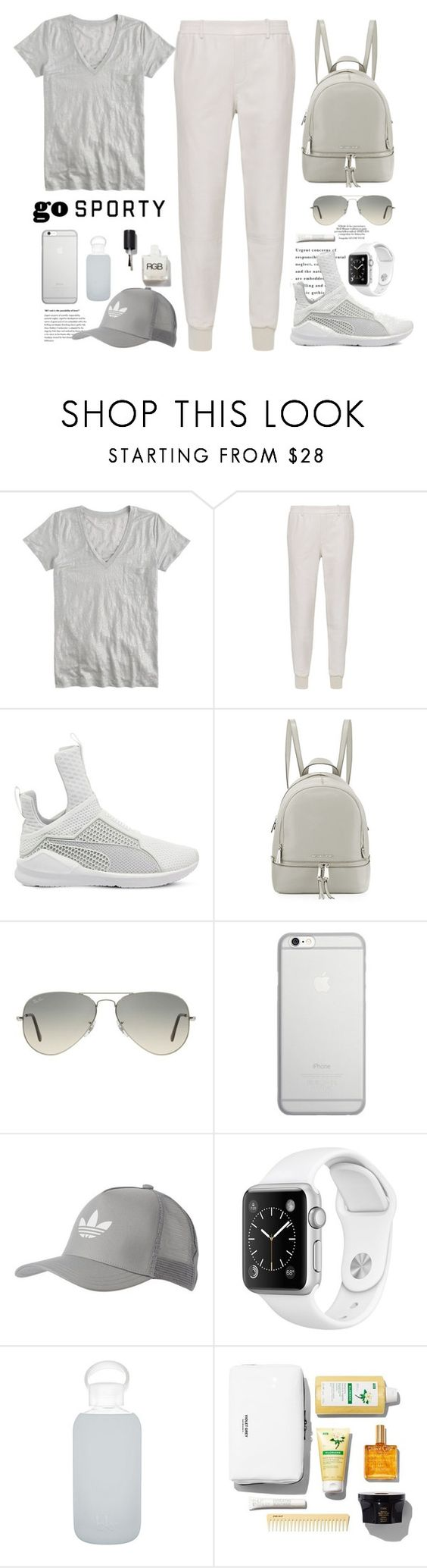 """""""Go Sporty!"""" by bamaannie ❤ liked on Polyvore featuring J.Crew, Vince, Puma, MICHAEL Michael Kors, Ray-Ban, Native Union, adidas Originals and bkr"""