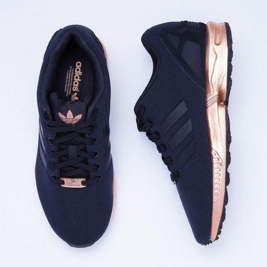 Dark blue and copper Adidas sneakers