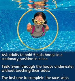 Fun swimming pool game for kids! May require assistance from others. Or maybe tie something heavy to keep them down