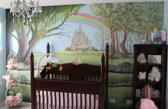 Nurseries murals and baby rooms on pinterest for Fairy castle mural