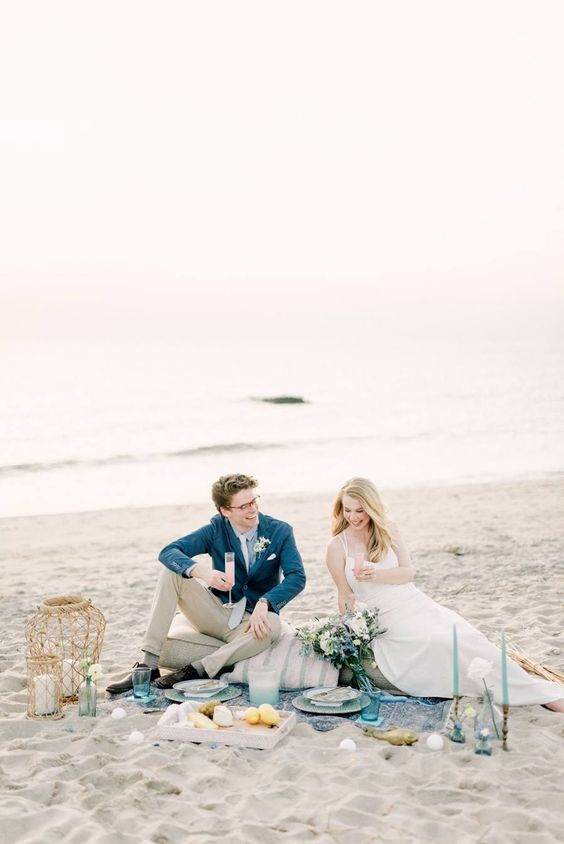 Fun and charming sunset elopement picnic on the beach in romantic Cape May New Jersey