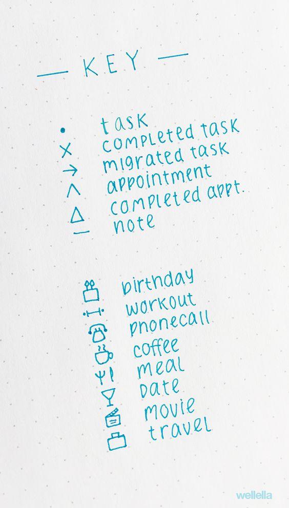 a sample bullet journal key with unique symbols