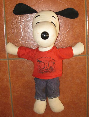 Vintage Snoopy Doll Plush Soft Toy - 70's Jeans 'Gangs all here' t shirt - 14""