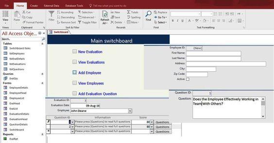 Access Employee Performance Evaluation Form Templates Database - employee evaluations