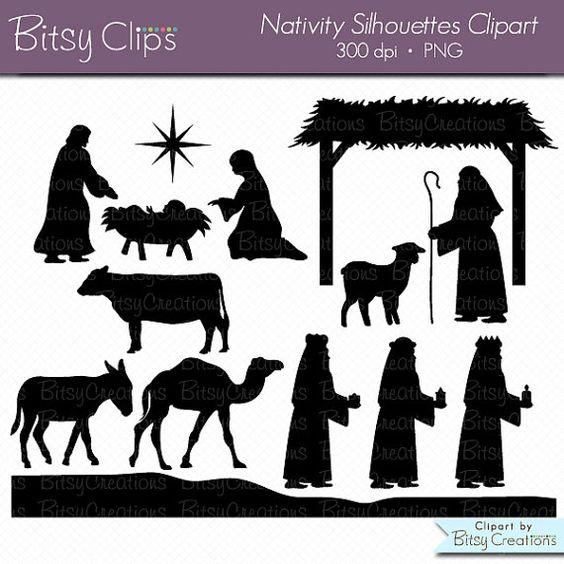 weihnachts krippe silhouettes digitale kunst set clipart. Black Bedroom Furniture Sets. Home Design Ideas