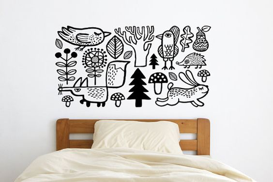 Forest / animals / home decor /  wall sticker by DURIDO on Etsy