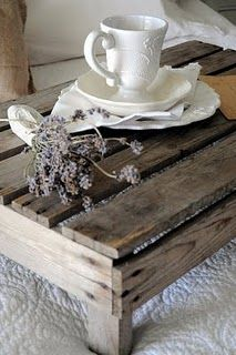 Simple wooden slated table.