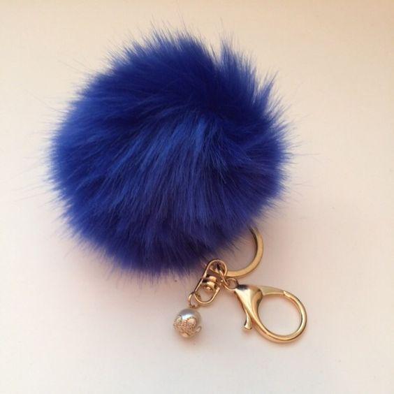 Blue fur keychain Blue fur fux keychain Accessories Key & Card Holders