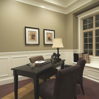 Taupe paint with wainscoting decorating ideas for Office dining room ideas