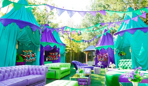 Birthday party themed party outside party green purple