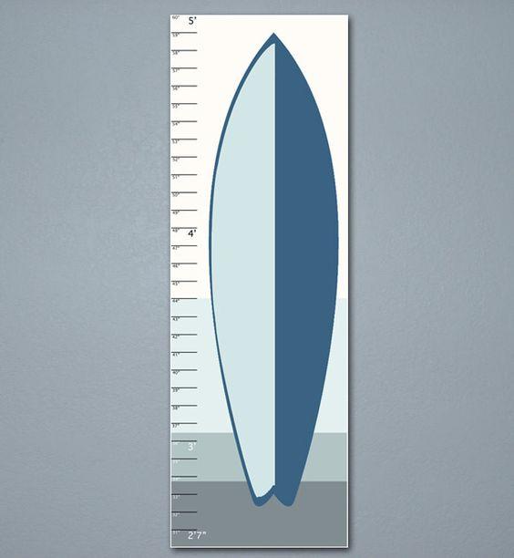 Surfboard Growth Chart, Kids Room, Children Art 10 X 30, Minimalist, Blue, Home Decor, Art Print
