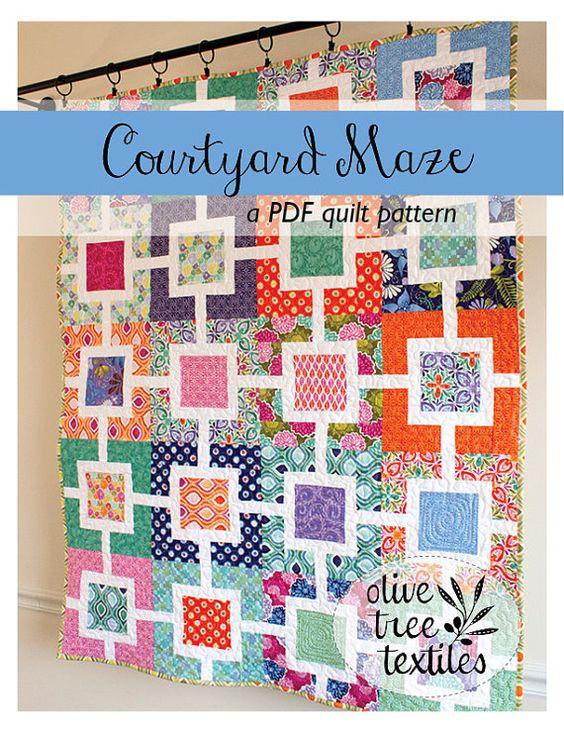 modern quilt pattern PDF // courtyard maze by olivetreetextiles, $8.00