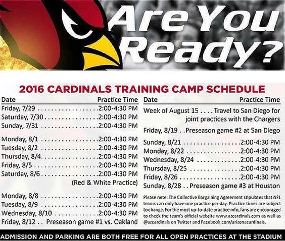 Arizona Cardinals 2016 Training Camp schedule @ArizonaLadyBirds