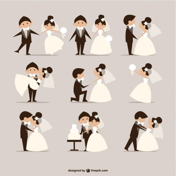 la boda cómica elementos de estilo de vectores Vector Gratis