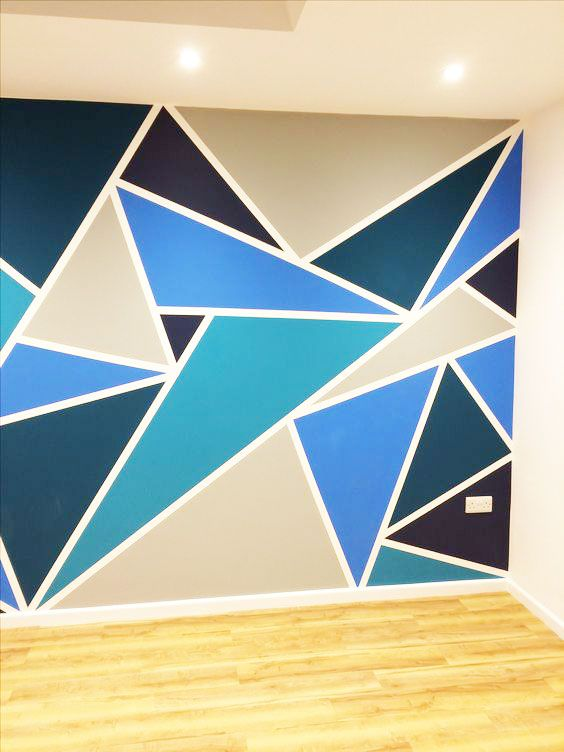 27 Funky Geometric Designs To Paint On The Wall In Your Boy S Room Bedroom Paint Design Accent Wall Bedroom Paint Diy Wall Painting