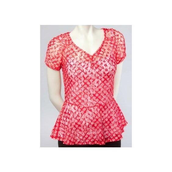 Printed Lace Peplum Top - Fashion Tops - Tops via Polyvore