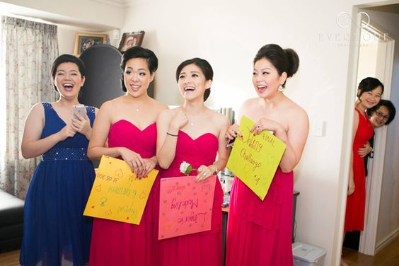 "One Chinese wedding custom is that the groom must come to the bride's house and bring her to the ceremony. But before he and his groomsmen are allowed to enter, the bridesmaids must present them with a series of crazy, funny, or humiliating challenges to prove his worthiness; this is referred to as ""crashing the gate."""