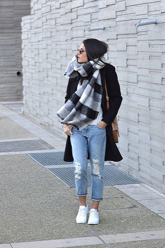 Black coat plus sign + white shirt + cropped boyfriend jeans + white sneakers  + plaid blanket scarf + tan shoulder bag