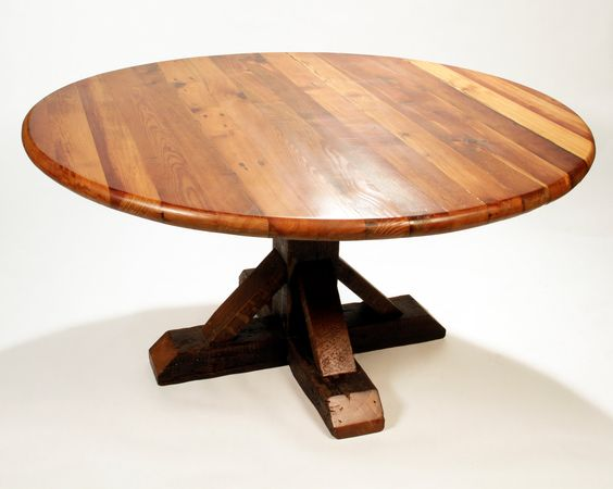 Reclaimed Wood Dining Table Round Antique Heart Pine