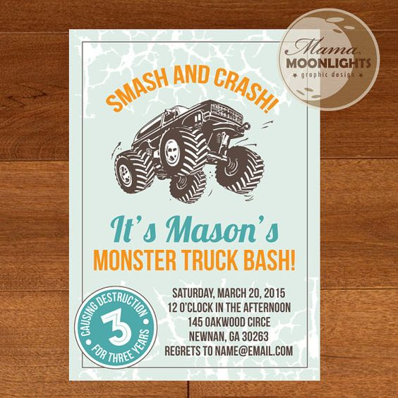 Monster Truck Birthday Party Printable by MamaMoonlights on Etsy