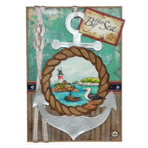 "This Card was made by Sally Dodger using the new ""Harbour Village"" stamp set designed by Sharon Bennett for Hobby Art Stamps:"