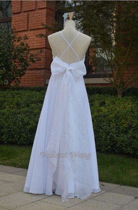 Open Back Cross Straps White Lace Flow Chiffon by Valiantwang