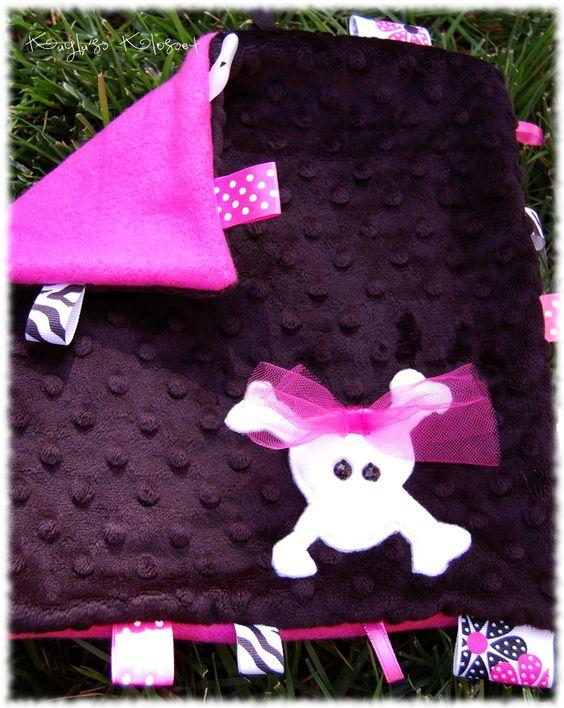 MIss Bow-nes, Minkie/Fleece Personalized Taggie Blanket. $15.00, via Etsy.