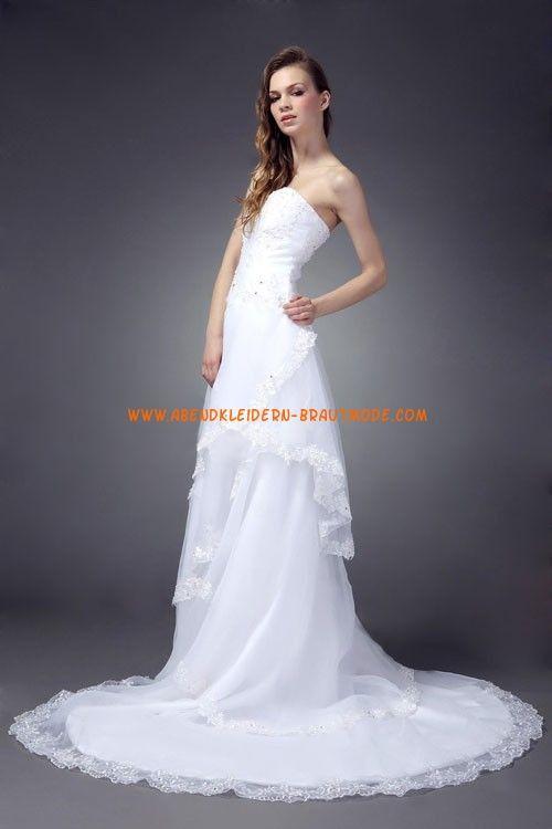 Glamouröse Herz-Ausschnitt A-linie Brautkleider aus Organza mit Schleppe