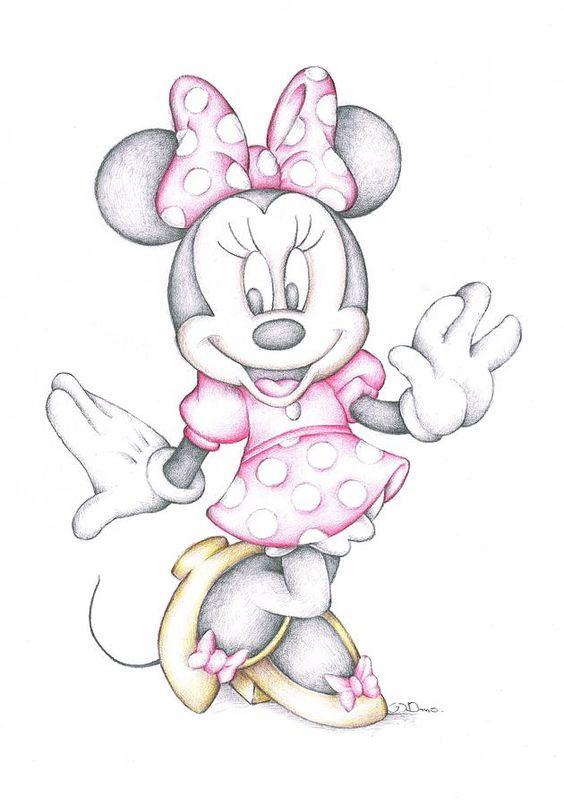 minnie mouse disney cartoon colour pencil drawing je dessine capteurs de r ves et les vacances. Black Bedroom Furniture Sets. Home Design Ideas