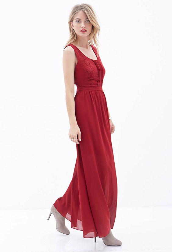 Embroidered Cutout Maxi Dress