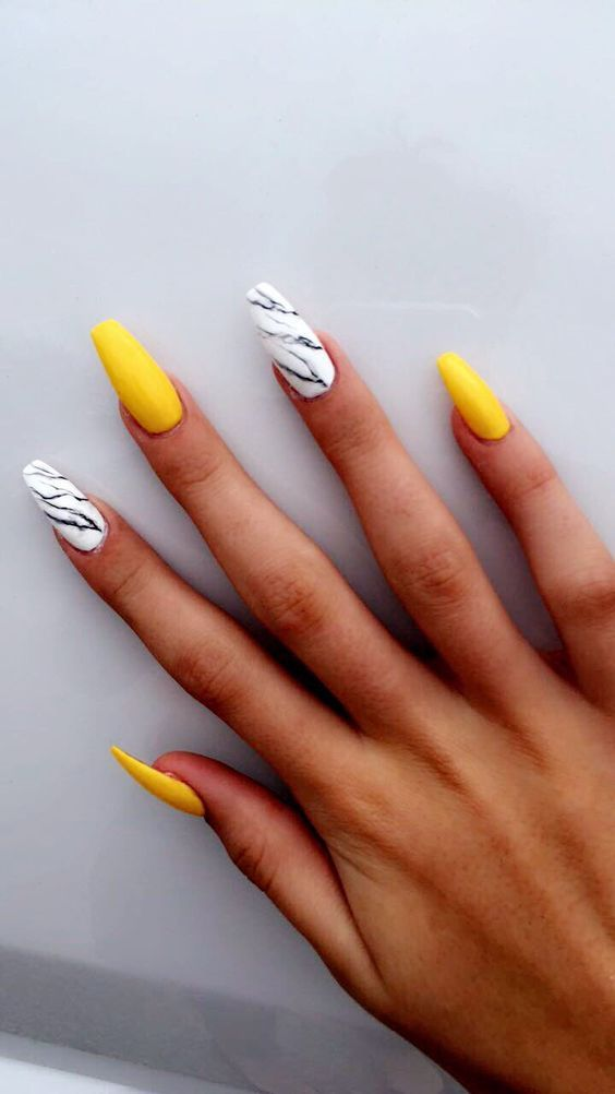 76 Stunning Yellow Acrylic Nail Art Designs For Summer Yellow Nails Design Yellow Nail Art Graduation Nails