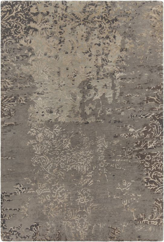 Chandra Rugs Rupec 39629 Grey and Beige Wool Blend Shag Area Rug Hand Tufted in