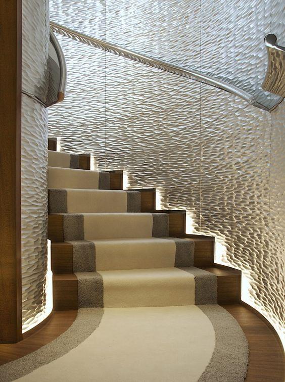 Illuminated staircase (on a yacht!). Designed by Tara Bernerd.