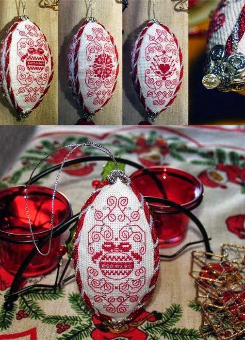 """Милые сердцу штучки: Новогодняя вышивка: """"Елочный шар из овальных лепестков"""""""
