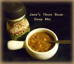 Layer this three bean soup mix in a jar. Follow directions on printable label for hearty Three Bean Soup, Three Bean Beef Stew or Three Bean Ham Soup.