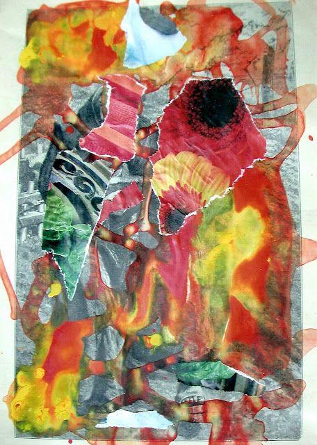 """Espiritualidad Contemporánea:                                                                                                                                 """"Un abismo la distancia"""" collage de José Vega poema de Moni Indiveri de Vega"""