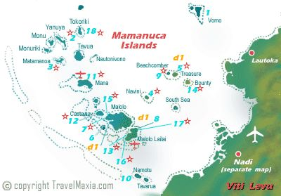 Mamanuca Islands map - Fiji Archipelago