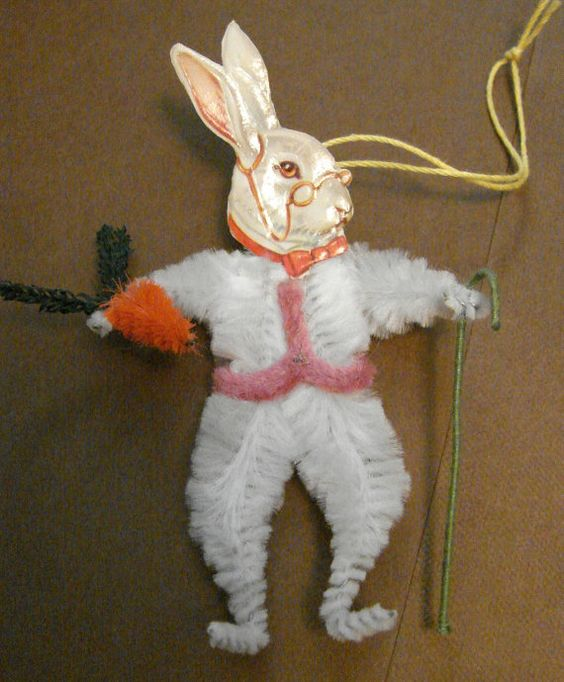 Chenille Easter Bunny Paper Scrap by saintNICHOLAStoo on Etsy, $5.00