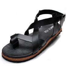 Envío gratis 2016 hombres vendedores calientes de moda del cuero genuino de las sandalias gladiador romano hombres de zapatillas zapatillas de playa(China (Mainland))