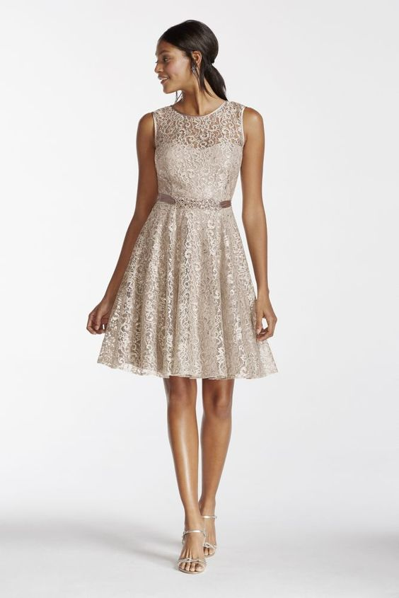 Illusion Tank Shimmer Lace Dress with Beaded Sash - Silver, 16