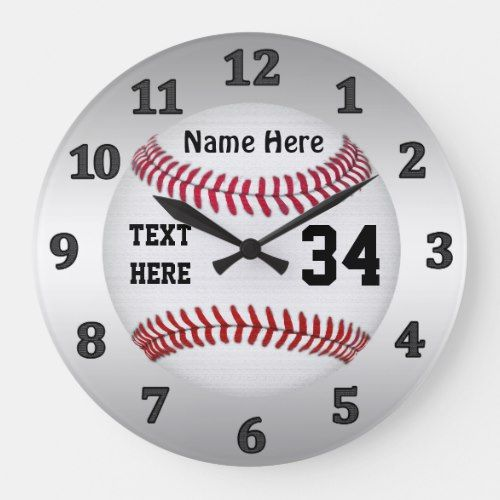 Personalized Baseball Clocks With Name And Number Zazzle Com Clock Gifts For Baseball Lovers Boys Baseball Bedroom