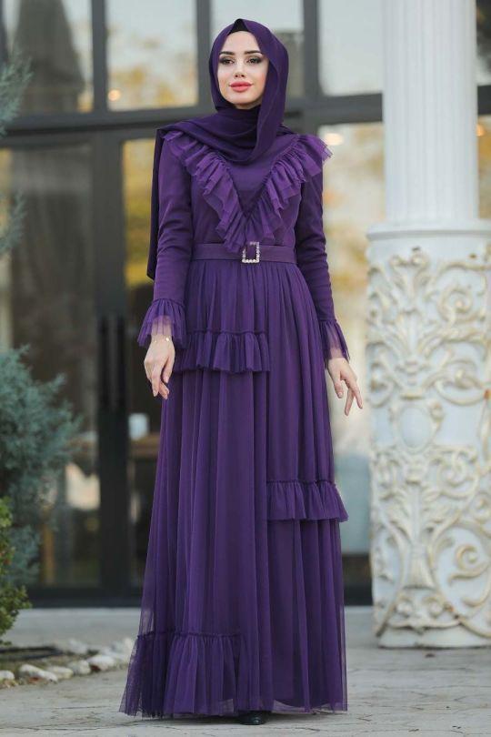 Tesetturlu Abiye Elbise Firfir Detayli Mor Tesettur Abiye Elbise 2134mor Elbise Moda Stilleri Sik Kiyafetler