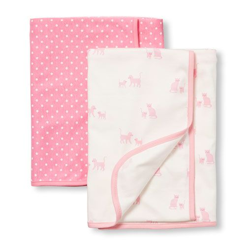 Newborn Baby Layette Printed Swaddle Blanket 2-Pack - White - The Children's Place