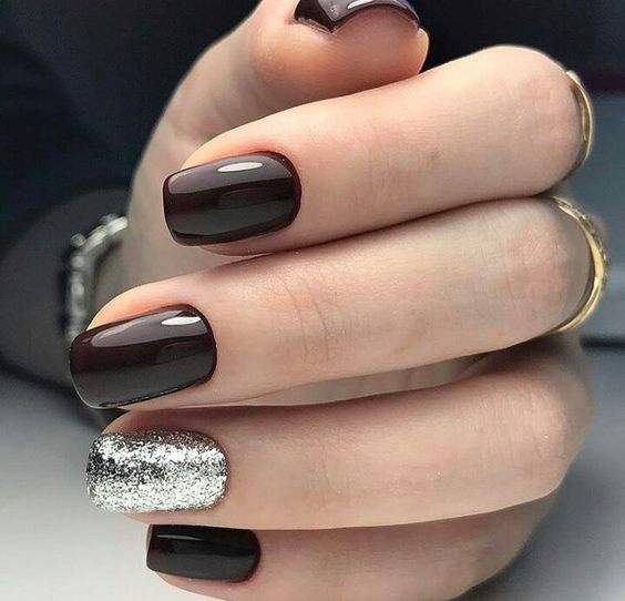 Black cherry silver nails